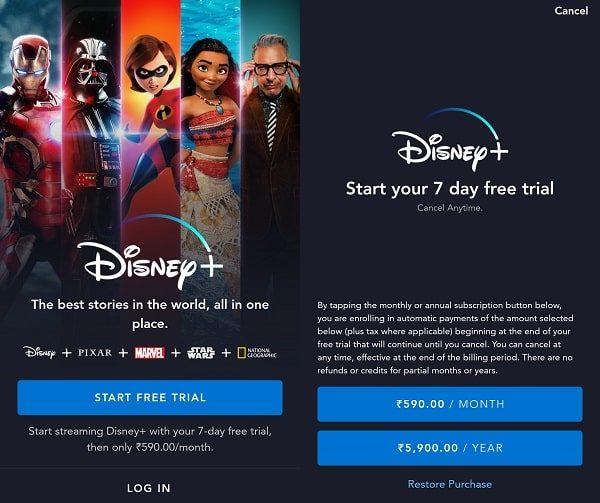 Disney+ Subscription Plan in India