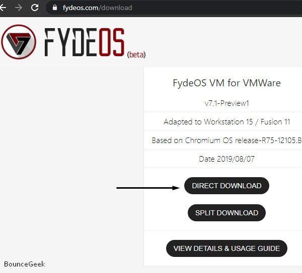 Download Fyde OS for VMWare