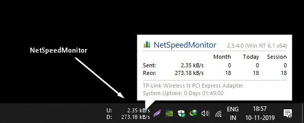 NetSpeedMonitor - Internet Speed Meter for Windows 10