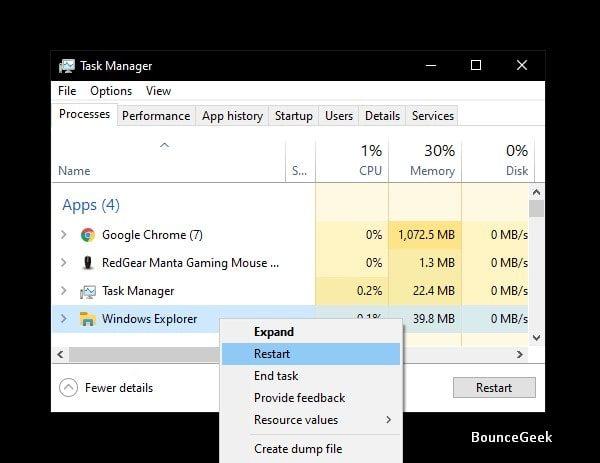 Restart Windows Explorer