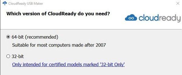 Select CloudReady Chromium OS Version