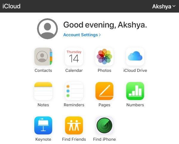 iCloud home page - iCloud Drive