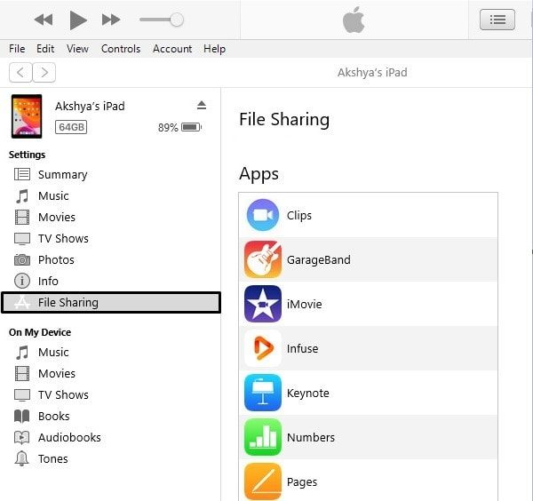 iPad File Sharing - iTunes