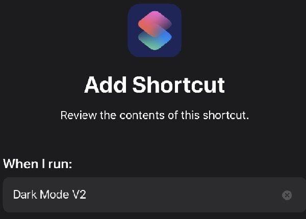 Add Dark Mode V2 Shortcut