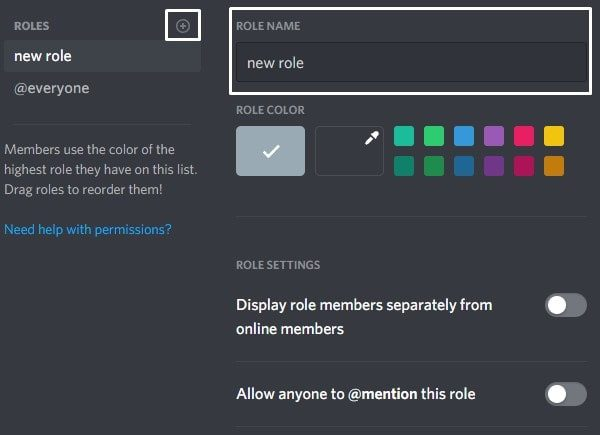 Add new Role to Discord