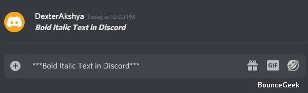 Bold Italic Text in Discord