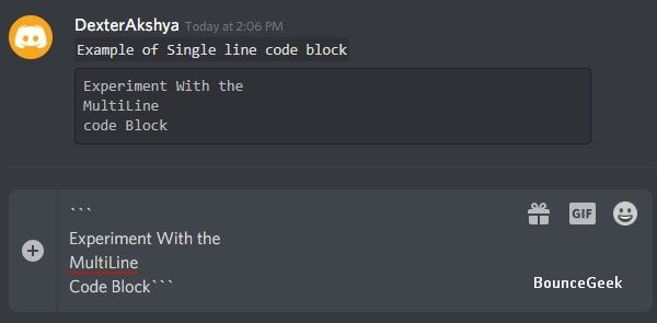 Code Blocks in Discord