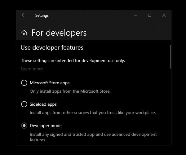 Enable Windows 10 Developer mode