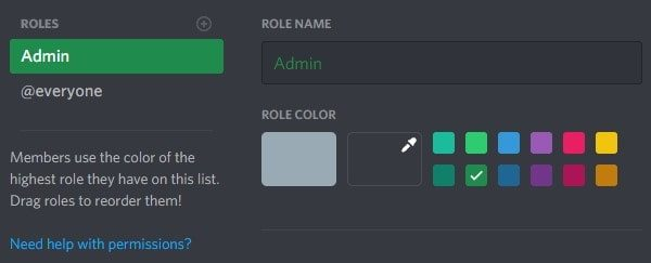 Enter Role Name and Select Color