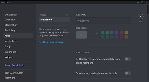 Manage Roles in Discord