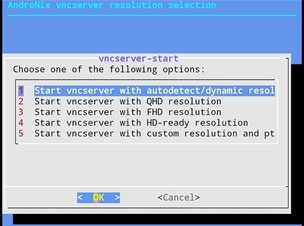 Select VNC Server Resolution - Install Linux Distros on Android