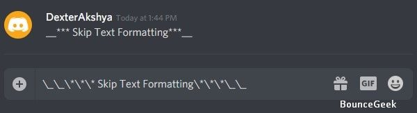 Skip Text Formatting in Discord