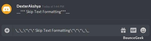 Skip Text Formatting in Discord