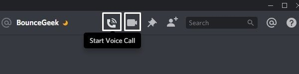 Start Voice or Video Call to Share Screen
