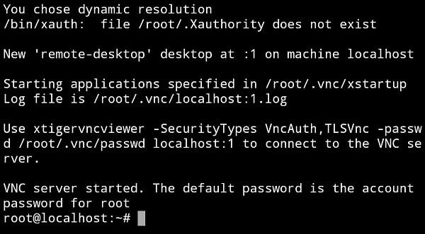 VNC Server Started