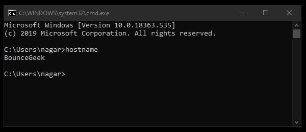Find the Hostname of your Windows Computer