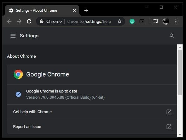 Google Chrome is up to date