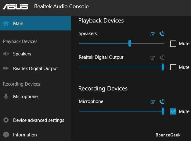 Mute Microphone - Realtek Audio Console