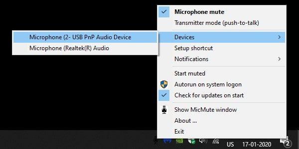 Select Microphone in MicMute App