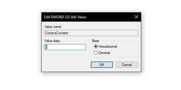 Disable Cortana Consent