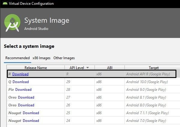 Download Android R System Image