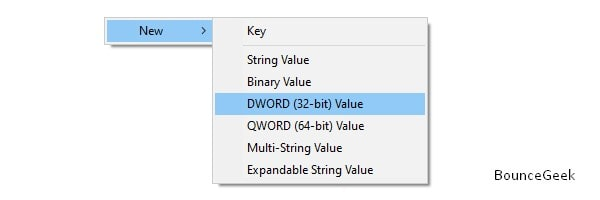New DWORD 32-bit Value in Search