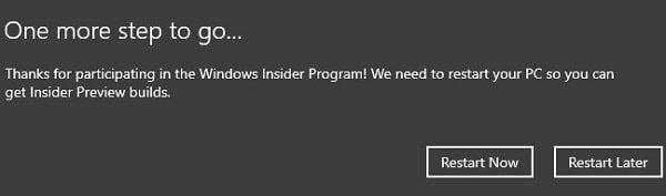 Restart PC to Get Latest Insider Build