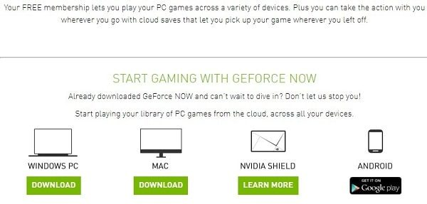 Select Device and Download GeForce Now