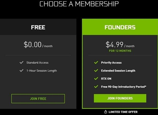 Select Free Membership Plan - use Nvidia Geforce Now in India