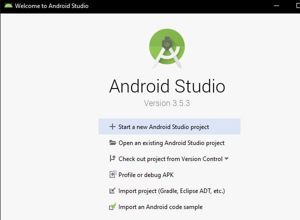 Start a new Android Studio Project - Default