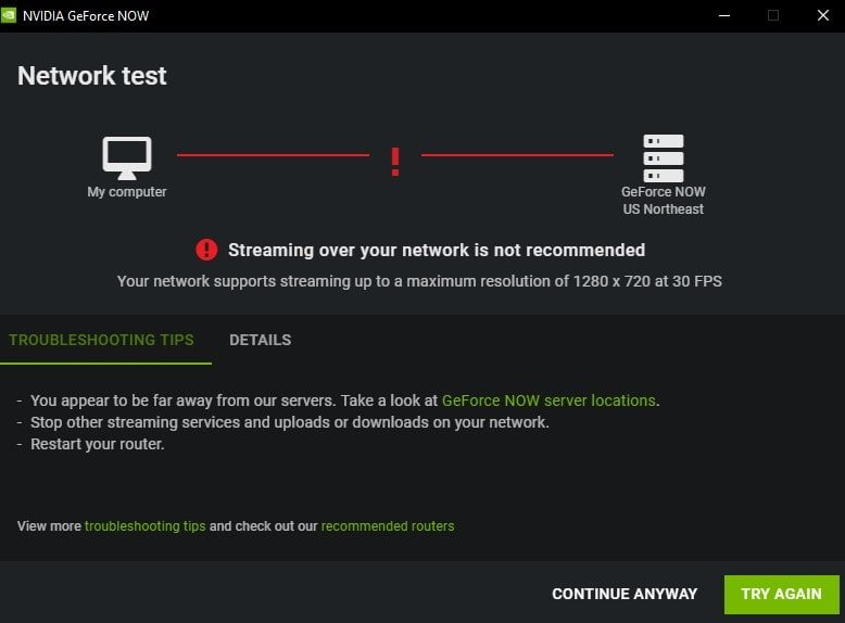Streaming over your Network is not recommended