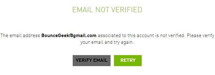 Verify GeForce Now Email