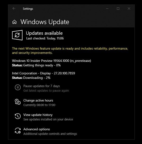 Windows 10 Insider Preview Update
