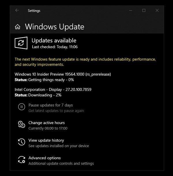 Windows 10 Insider Preview Update