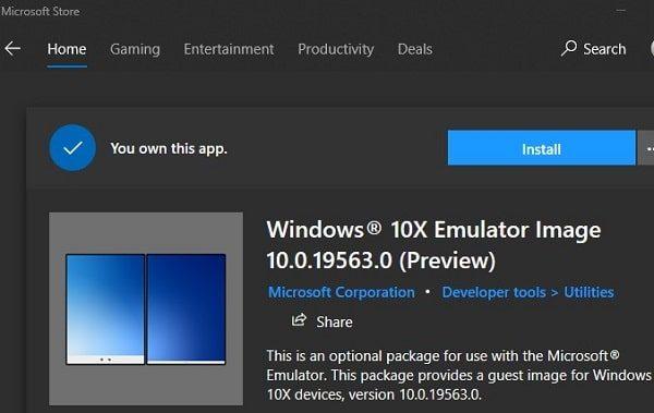 Windows 10X Emulator Image