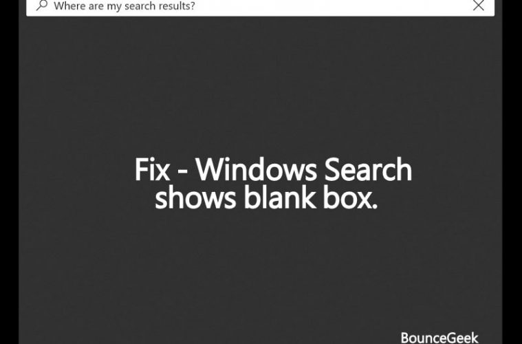 Windows Search shows blank box