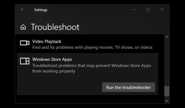 Windows Store Apps Troubleshooter