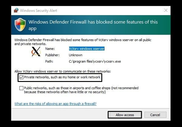 Windows X Server Firewall Dialoug