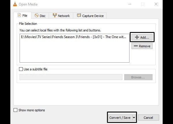 Add File and Convert - VLC