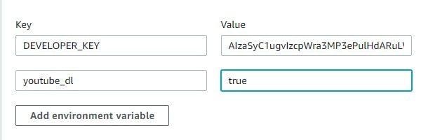 Add environment variable - Play YouTube Music on Alexa