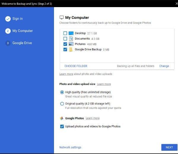 Choose Folder to backup on Google Drive