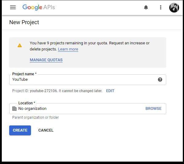 Create a new YouTube API Project