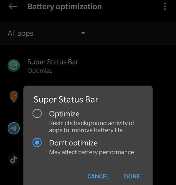 Disable Battery optimization for Super Status Bar