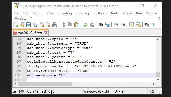Edit VMware Configuration file