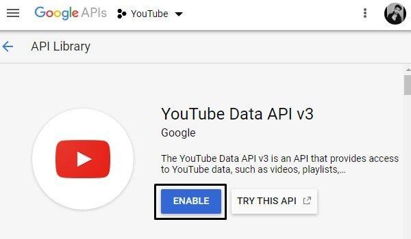 Enable YouTube Data API - Play YouTube Music on Alexa