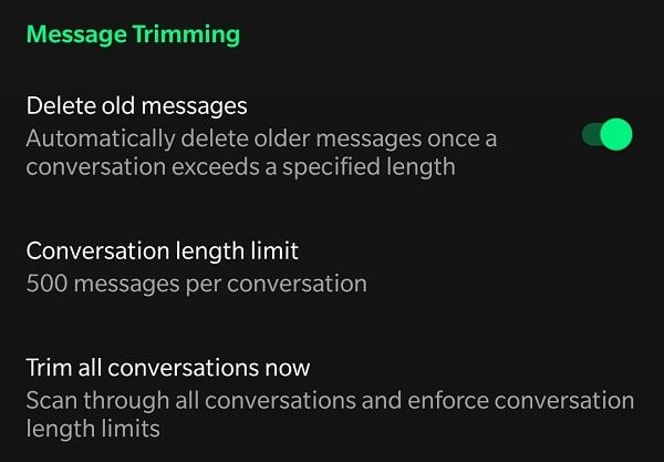 Message Trimming - Conversation length limit