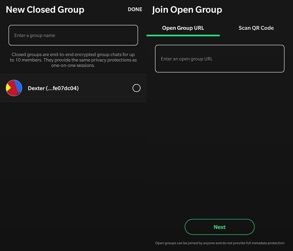 Open and Closed Group - Session App