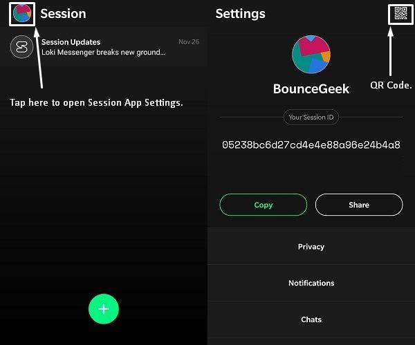 Session App Settings - QR Code