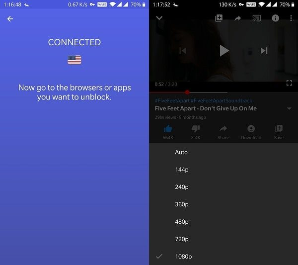 Use VPN App to Unlock YouTube Video Quality