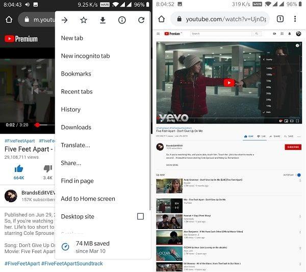 YouTube Desktop Site - 1080p video quality